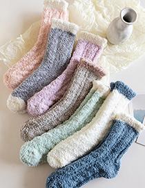 Fashion Purple Coral Fleece Solid Color Twist Tube Socks