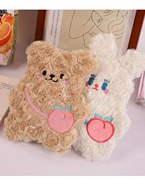 Fashion Peach Heart Bunny Little Bear And Rabbit Plush Large-capacity Pencil Case