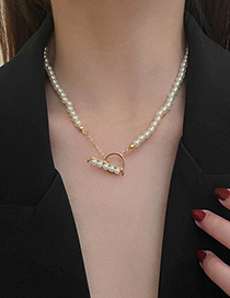 Fashion Gold Color T-shaped Buckle Pearl Necklace