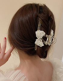 Fashion Black Pearl Bow Hair Scratch