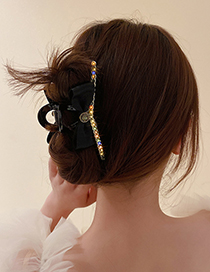 Fashion Black Diamond-studded Gauze Bow Hair Scratch