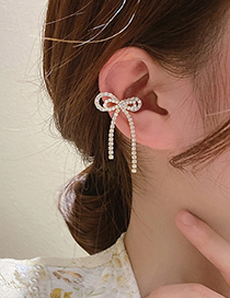Fashion Gold Color Pearl And Diamond Bow Earrings Single