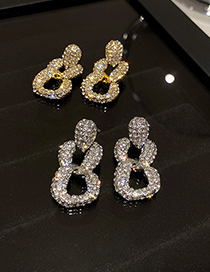Fashion Silver Color Geometric Chain Earrings With Diamonds
