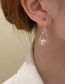 Fashion Gold Color Diamond-studded Pearl Drop-shaped Ear Hooks