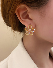 Fashion Gold Color Diamond And Pearl Flower Stud Earrings