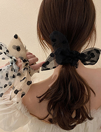 Fashion Black Polka Dot Gauze Hair Rope