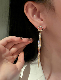 Fashion Gold Color Geometric Round Tassel Earrings