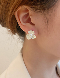 Fashion Flowers Pearl Flower Geometric C-shaped Earrings