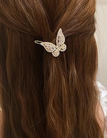 Fashion Butterfly Pearl Butterfly Zircon Hair Clip