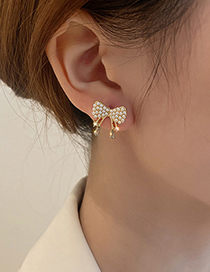 Fashion Pearl Bow Pearl Bow Stud Earrings