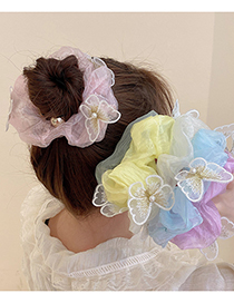 Fashion White Candy-colored Lace Butterfly Hair Rope