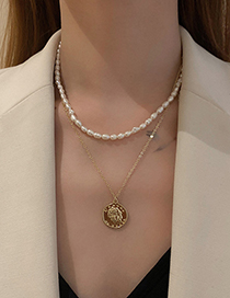 Fashion Gold Color Multilayer Pearl And Diamond Gourd Necklace