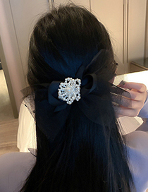 Fashion Black Pearl Flannel Bow Hairpin