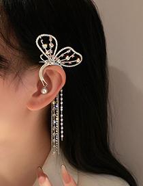 Fashion Silver Color Pearl Crystal Diamond Butterfly Left Ear Single