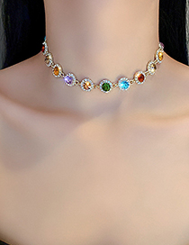 Fashion Color Colorful Diamond Necklace