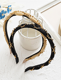 Fashion Champagne Diamond Chain Cross Fabric Hair Band