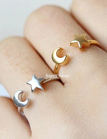 Fashion Golden Adjustable Star And Moon Half Opening Ring