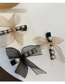 Fashion Khaki-drop Shape Lace Bowknot Pearl Love Hairpin