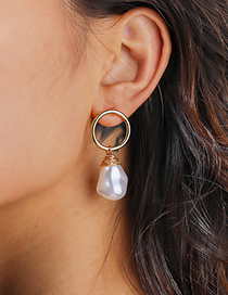 Fashion Pearl Gold Circle Braided Freshwater Pearl Earrings