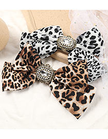 Fashion Brown Alloy Diamond-studded Leopard-print Bow Hairpin