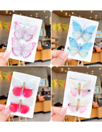 Fashion Gradient Pink Silver Edge Children's Color Butterfly Hairpin