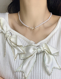 Fashion Gold Color Zircon Pearl Bow Necklace