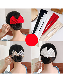 Fashion Green Leaves On White Bow Printing Plate Hair Device