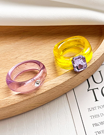 Fashion Yellow Transparent Ring With Diamonds In Resin
