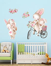 Fashion 30*40cm*2 Pieces Bicycle Rabbit Wall Sticker