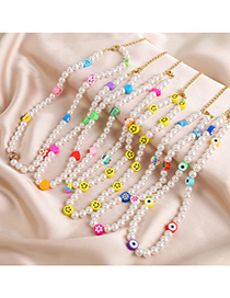 Fashion Cake Colorful Clay Pearl Beaded Necklace