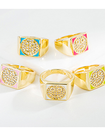 Fashion Red Copper Micro-inlaid Rhinestone Dripping Smiley Ring