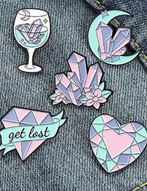 Fashion 1# Diamond Flower Gem Letters Love Paint Brooch