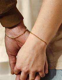 Fashion Steel Color 16.5cm Stainless Steel Gold-plated Chain Bracelet