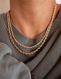 Collar De Cadena Giratoria Chapado En Oro De 14 Quilates