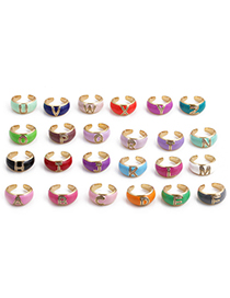 Fashion A Letter Letter Drop Oil Micro Inlaid Zircon Open Ring