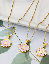 Fashion Z Stainless Steel Hexagonal Pink Bottom 26 Letter Necklace