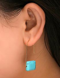 Fashion Black Geometric Paperclip Plain Hook Turquoise Earrings