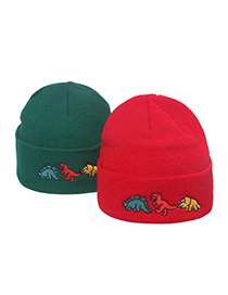 Fashion Red Dinosaur Sleeve Embroidery Dinosaur Knitted Hat