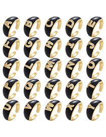 Fashion A Black Drop Oil Micro Inlaid Letter Open Ring