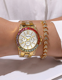 Fashion Rose Gold Color Gypsophila Inlaid With Colored Diamonds Three-eye Stone Steel Band Watch