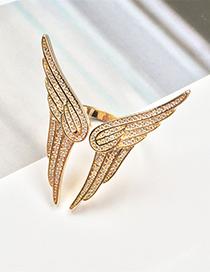 Fashion Gold Zircon Wing Ring