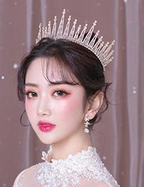 Fashion Gold Diamond-studded Crown Tiara