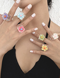 Fashion Pink Resin Color Flower Acrylic Ring