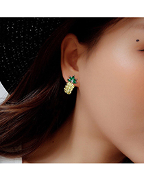 Fashion Green+yellow Pineapple Decorated Color Matching Earrings
