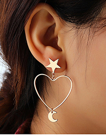 Fashion Kc Gold Hollow Love Star And Moon Earrings