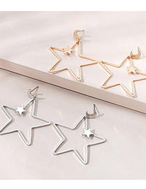 Fashion White K Hollow Five-pointed Star Hollow Earrings