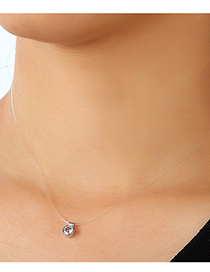 Fashion Silver Fishbone Necklace With Diamond Round Pendant