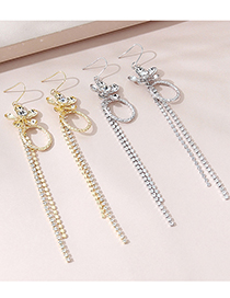 Fashion 14k Gold Real Gold Plated Flower And Diamond Tassel Earrings