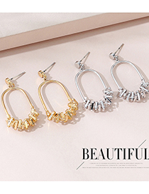 Fashion Platinum Real Gold Plated Hollow Geometric Earrings