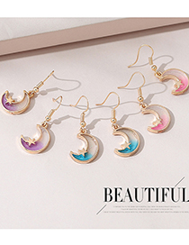 Fashion Pink Little Moon Five-pointed Star Resin Earrings